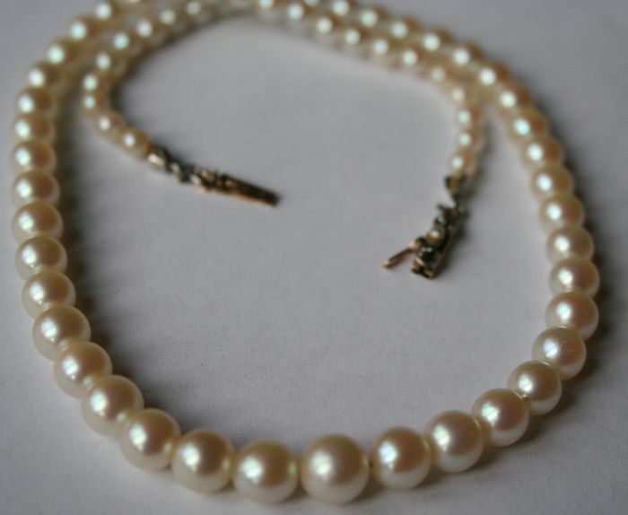 antique real genuine sea salty pearl necklace with 14kt
