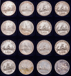 """Italy - Lot of 16 coins of 500 Lire """"Caravelle"""" - silver"""