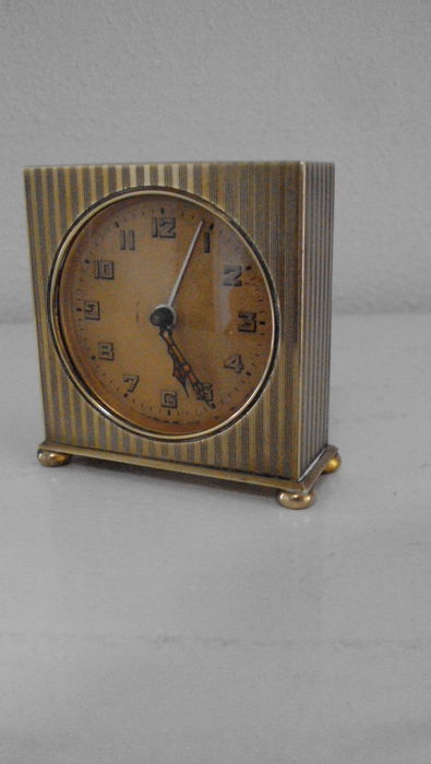 Art deco alarm clock in leather pouch catawiki Art deco alarm clocks