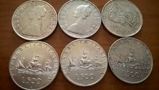 """Italy - Lot of 11 coins 1861/1961 of which 6 coins of 500 Lire """"Caravelle"""" (Caravels) in silver"""