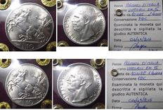 """Italy, Kingdom - Lot of 2 coins of 10 Lire 1927 """"Biga"""" 1 and 2 small roses Vittorio Emanuele III - silver"""