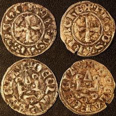 Crusaders, Achaia - Lot of 2x Silver Denier Tournois of Philip of Savoy (1278-1334) - silver