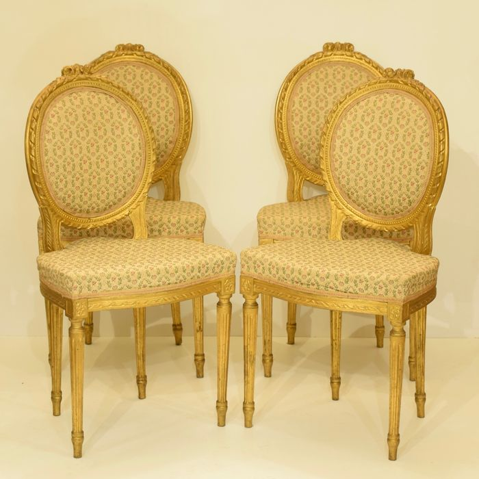 Set Of Four Plated Wooden Chairs In Neo Classical Styles Florence Italy