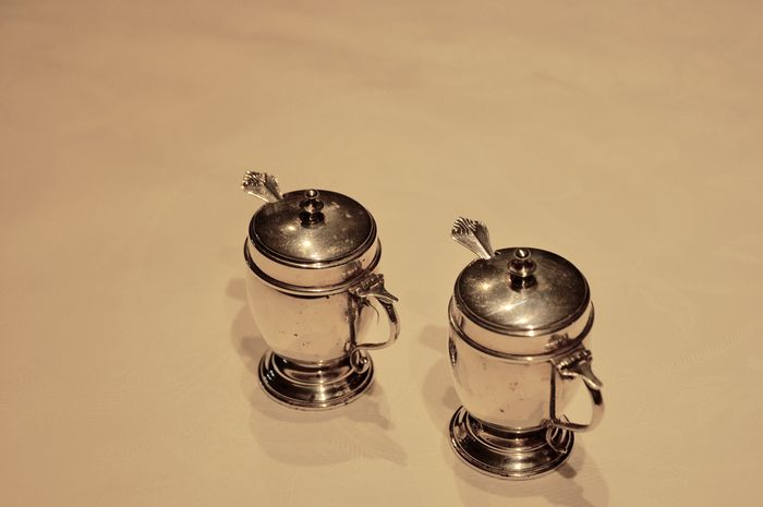 Table Salt And Pepper Containers Silver Italy 1950