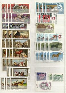 Horses - Topical stamps with duplication in stock book