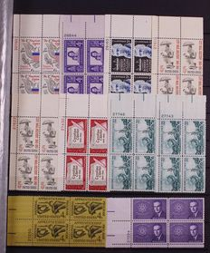 USA 1940/1974 - Batch of plateblocks in 2 stock books