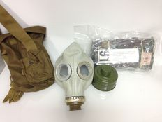 Gasmask and British Army Pattern Camouflower suit- 20th century