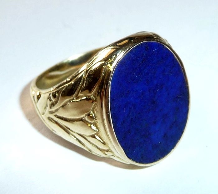 585 14 kt men 39 s gold ring with lapis lazuli and for 5 golden rings decorations