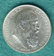 German Empire, Bavaria - 2 Mark 1911 D For the 90th birthday of Prince Regent Luitpold - Silver