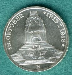 German Empire, Saxony - 3 Mark 1913 E 100th Anniversary of the Battle of Leipzig - Silver