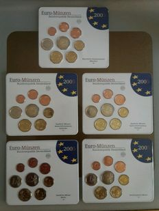 Germany - Euro-coin set 2005 A, D, F, G, J