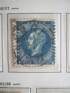 Norway 1856/1909 - Collection with the first stamps on Schaubek sheets