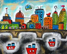 Maria Luisa Azzini - Three Little boats in a parallel London.