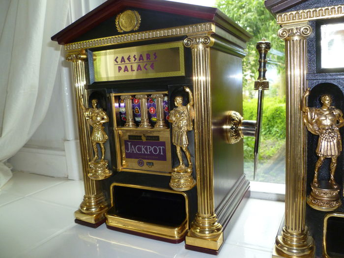 Official Caesars Palace Las Vegas Slot Machine Bank- by The Franklin Mint