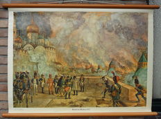 """Old school print with Napoleon in Moscow """"Fire in Moscow 1812"""""""