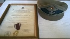 Golden palm with certificate and kepi of Belgian customs