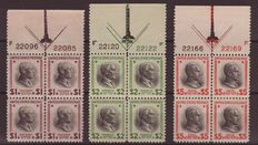 USA 1938 - Selection of Stamps in Block of 4 - Michel 439-441