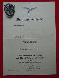 German certificate with the gunnersmark of the Luftwaffe WWII