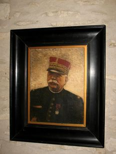 Patriotic portrait painting of the French general, marshal Joffre - ca. 1918 - WWI