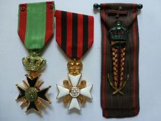 Lot of 3 medals, including Officers' cross