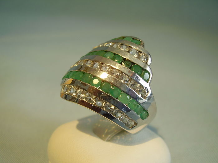 big emerald white topas ring catawiki