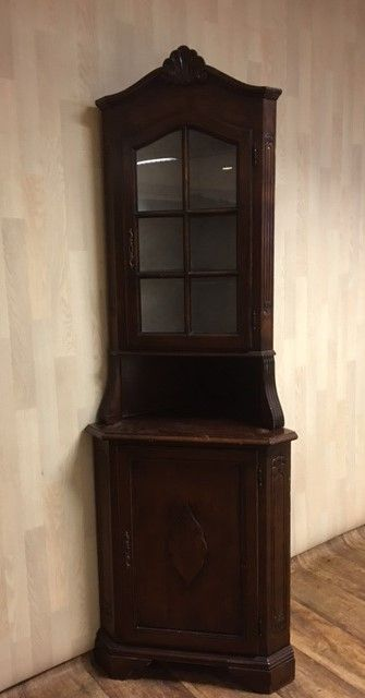 armoire en coin deux portes avec partie vitrine catawiki. Black Bedroom Furniture Sets. Home Design Ideas