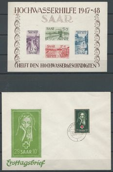 Saarland 1948/1951 - Block Flood disaster and FDC Red Cross