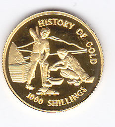 "Tanzania - 1000 shillings 1998 ""History of Gold"" Goud"