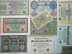Large lot German banknotes, including many (Inflation) banknotes - Crisis Period. - 20th century.