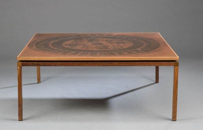 Exclusive Rosewood Coffee Table With Inlaid Copper Sheet Catawiki