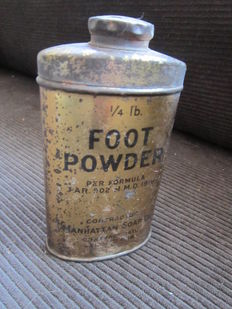 A nice unused can with American Foot powder, dated 11 July 1918