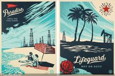 2 Shepard Fairey (OBEY) - Lifeguard not on duty and Paradise Turns