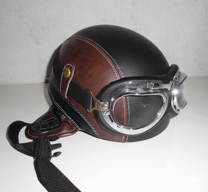 casque r tro d 39 aviateur pour accompagner un solex ou une moto oldtimer catawiki. Black Bedroom Furniture Sets. Home Design Ideas
