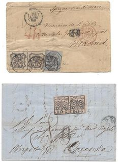 Papal state 1852 - Two covers to Madrid and Cosenza