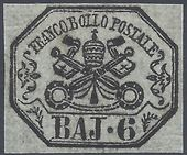 Check out our Papal state 1852 - Papal coats of arms - Sassone 7a with certificate