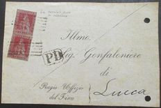 Tuscany 1851/1852 - letter with two Sassone 4 on the front