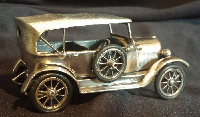 miniature car model fiat 12 cv 1912 made of silver
