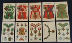 Lot containing Japanese postcards (10x); Military distinctions and decorations 1930, -WWII