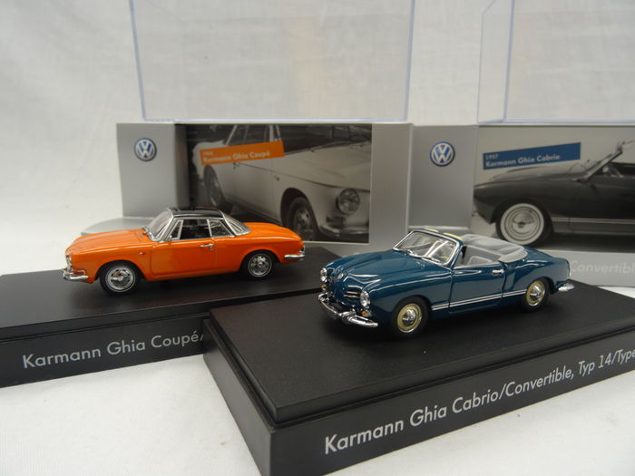 minichamps scale 1 43 lot with 2 volkswagen models karmann ghia coupe type 34 karmann. Black Bedroom Furniture Sets. Home Design Ideas