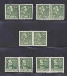 Sweden 1939 - Ling and Bellman - Michel 253 and 277 in pairs