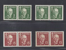 Sweden 1939 - King Gustav V - Michel 250 and 251 in pairs