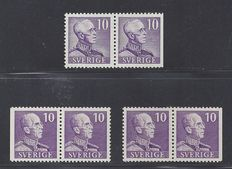 Sweden 1939 - King Gustav V - Michel 256 I and 256 II in pairs