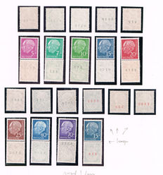 German Federal Republic 1954/1961 - collection Heuss including Lumogen OER with printer sign and stamps on rolls