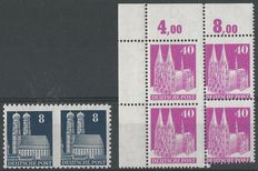 Germany Allied occupation 1948 - Buildings - Michel 79 WB/F in pair + 90 in block of 4