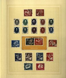 GDR 1949/1960 - Complete collection with Michel 8/9 AB and Thälmann 80 Pfennig on varnished paper Michel 339xb XI in clamp binder