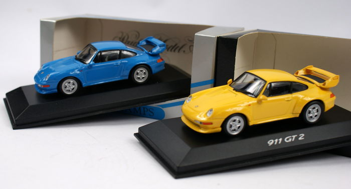 minichamps scale 1 43 2 x porsche 911 gt2 street light weight yellow blue catawiki. Black Bedroom Furniture Sets. Home Design Ideas