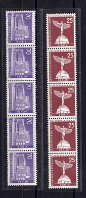 Berlin 1956 - Buildings set coil stamps in strips of 5 - Michel 147 R and 152 R