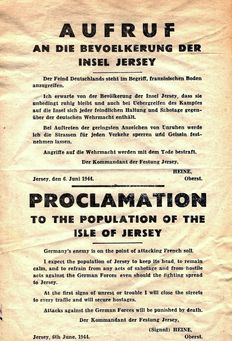 Rare WWII Original German Proclamation To The Population of The Isle of Jersey -  A u f r u f  -   An Die Bevoelkerung Der Insel Jersey:  Printed &  Dated June 6, 1944