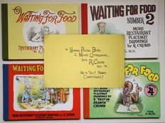 Robert Crumb - Waiting for Food 1 t/m 4 - Restaurant Placemat Drawings - 4x hc met linnen rug - (1995 / 2008)
