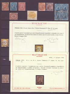 Italy 1862/1896 - Lot including certified Raybaudi